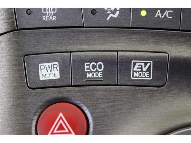 パワフルな走行が楽しめる「パワーモード」、燃費をより向上させる「エコドライブモード」、モーターだけでも走れる「EVモード」。走行状況に応じて切り替えができます。