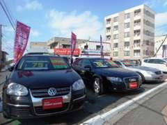 国産車~輸入車まで幅広いラインナップで皆様のご来店をお待ちしています。輸入車ではアウディ・VW等が常時展示中です。