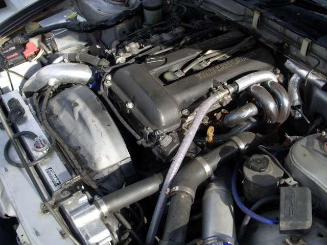東名86.5パイ鍛造ピストン・H断面コンロッド・強化バルブスプリング・EXマニ・社外タービン・その他・製作後約10000キロ走行のエンジンです!