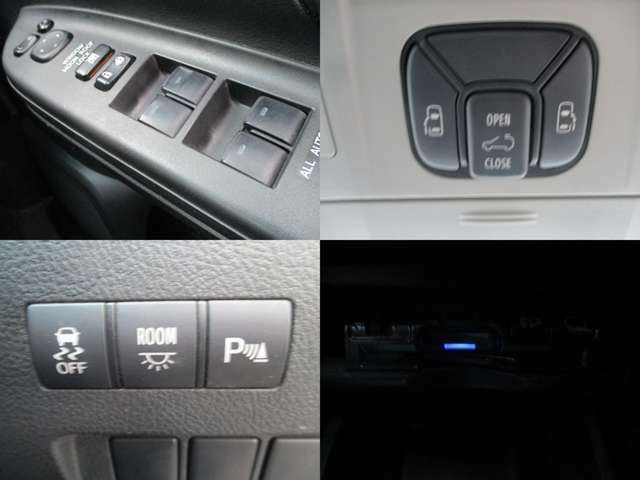 電動格納ミラー パワーウィンドウ 両側電動スライド  ボタンやワンタッチでのドアの開閉ができ便利です オートサンルーフ 横ブレ軽減装置 コーナーセンサー搭載 ETC搭載 高速道路も快適です