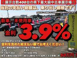 当社では新車、(登録済又は届出済)未使用車の金利を3.9%で取り扱っております。金利まで含めた総支払い額をお考えください!当社の総額は、乗り出し価格で設定しております。ご安心してお買い求め下さい。