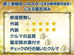 第三者機関JAAA(日本自動車鑑定協会)の鑑定書付き検査員がお客様目線で行った300項目を越える検査結果となります★中古車とは思えない高評価を獲得したお車です★CSオートディーラーは全車修復歴なし専門店です
