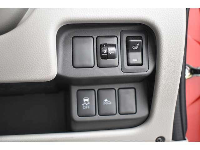 横滑り防止装置を装備★雨の日やコーナーリングなどすべりやすい道路状況で4輪タイヤを制御してスムーズな走りをコントロールします♪シートヒーター(運転席)装備(*^-^*)