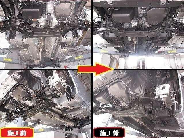 Bプラン画像:通常時の下廻り(写真左側)をハードな被膜でコーティング(写真右側)して融雪剤などによる錆の発生から愛車の下廻りを守ります☆