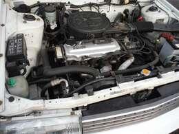 日産CA16エンジン。エアクリーナーケースは「土屋製作所」(現マーレ)によるプレス加工品、オルタネーターは「日産純正」、ラジエターは「日本ラヂエター製」(カルソニック→現マレリ)と、見どころたくさん(笑)