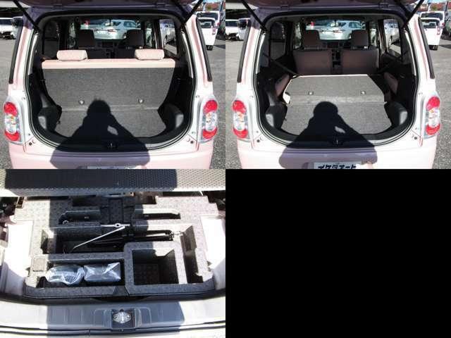 ラゲッジルーム リヤシートを可倒すれば、フラットで大きなスペースを確保出来ます。