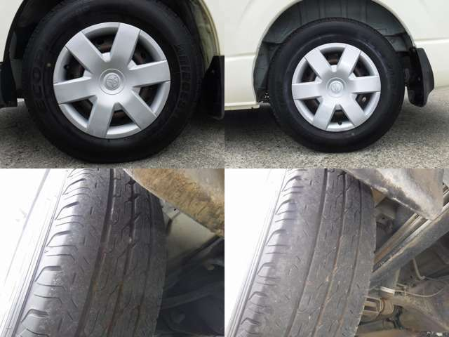 現在のタイヤの状態はラジアルタイヤ!フロント4分山.リヤ4分山程度です。スタッドレスの購入、タイヤ交換他ご相談下さい。
