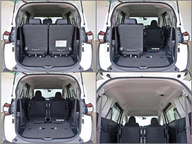 サードシートをたためばラゲージスペースが広がります、シートアレンジも多彩です!!