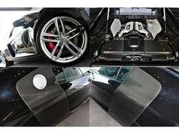 エクステリアは、「ミストブラックメタリック」を選択。OP「サイドブレードカーボンシグマ」や19inc5ダブルスポークデザインチタンルックAW、カーボンエンジンカバー、カラードブレーキキャリパー装備。