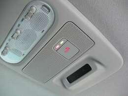 SOSコールスイッチです。急病・あおり運転等、緊急時に走行中スイッチを押すだけで、専門のオペレータに接続。警察や消防に連絡し、緊急車両の手配をサポートします。