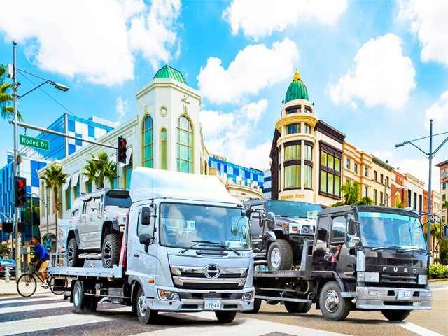 4トンワイドロング積載車2台完備!全国どこへでも納車致します。事故や故障時のレッカーもお任せ下さい。