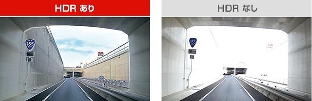 HDR(ハイダイナミックレンジ)搭載。逆光や明暗差も鮮明な映像を記録します。