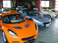 ブリティシュ・グリーンの建物が目印です!! 屋内展示場にて新車・即納車両ございます。水曜定休となります。