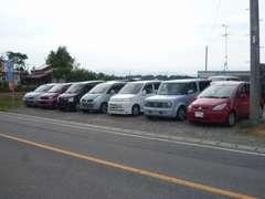 低価格帯を中心とした普通乗用車、軽自動車中心に展示しています