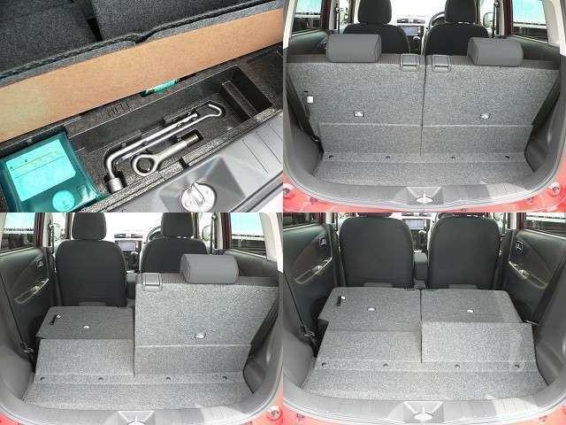 リヤシートは前後170mmスライドするので、荷室を拡大することができます。片側だけ倒すこともできる5:5分割可倒式なので、長い物もラクラク載せられます。