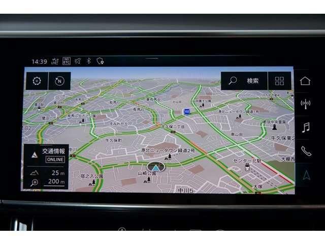 純正MMIナビの無駄を削ぎ落としたシンプルなレイアウトは車両情報と各種AV、カーナビの操作が自由自在。地デジはもちろん、Bluetooth,外部入力付きです。