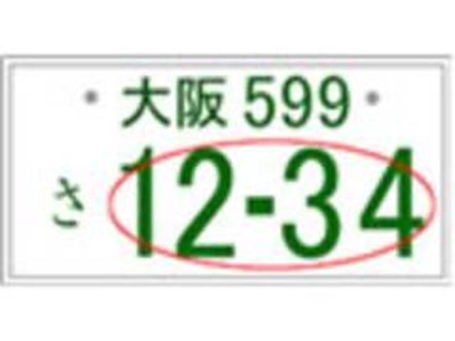 Aプラン画像:お好きなナンバープレートをお選びいただけます。誕生日・記念日・ラッキーナンバー等ご自分で選んでください!!※ナンバーによって抽選になる番号や、一部ご希望に添えない番号がございます。