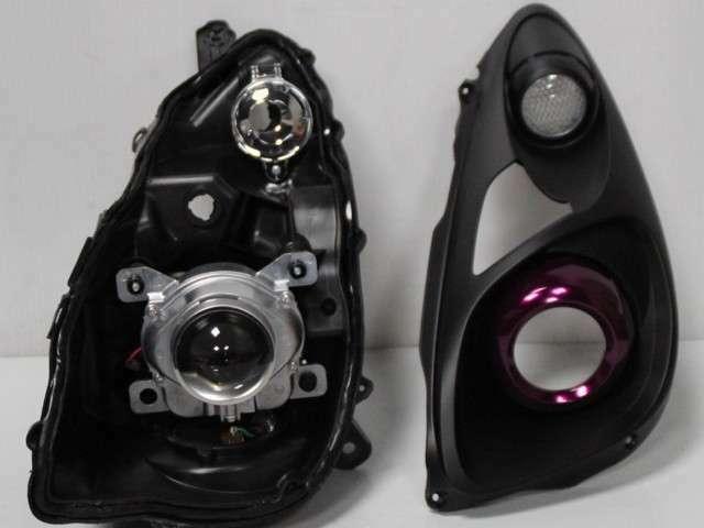カスタムヘッドライト制作マッドブラック×キャンディーパープル/アイ仕様・表面レンズは施工コーティング済みで綺麗ですよ(^^♪