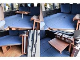 ベッドモード!テーブル付きでくつろぎの空間に♪ドリンク&スマホホルダー付き!家具の一部を差し込めば簡易テーブルにも早変わり♪