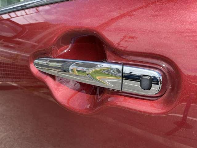 ドアノブの黒いスイッチを押すことで鍵の開閉が可能です。