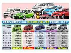 当店の車検価格表です。点検やお見積りは無料です。是非車検整備もご利用下さい。事前予約でお得となっています。