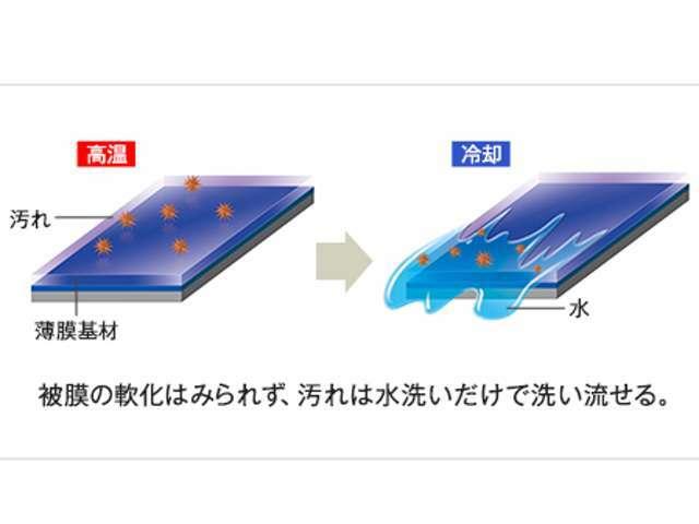 最大の特長は、ガラス系被膜コーティングでありながら強力な撥水性能を併せ持つ点。基本的には親水性であるガラス系被膜に高レベルの撥水性を持ち、クルマを長持ちさせることができるコーティングです。