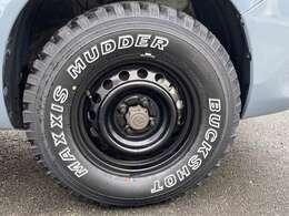 マキシス!バックショット!14インチタイヤがカッコいいですね^^チッピング塗装ホイルが雰囲気良いですよ!