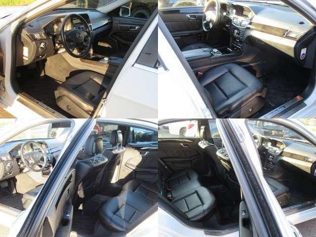 人気のラグジュアリーのブラック本革レザーシート内装で 綺麗に仕上がってるE350アヴァンギャルド4マチックリヤリップスポラー