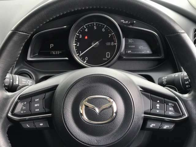 ステアリングスイッチは運転姿勢や視線を崩さずに操作が可能です。左側にはオーディオ類と下部にはハンズフリーフォンの通話/終話スイッチがあります。右側にはクルーズコントロール類の操作スイッチがあります