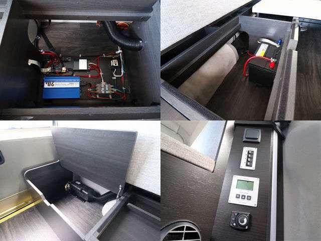 奥には収納スペースやサブバッテリーなどが完備されております!