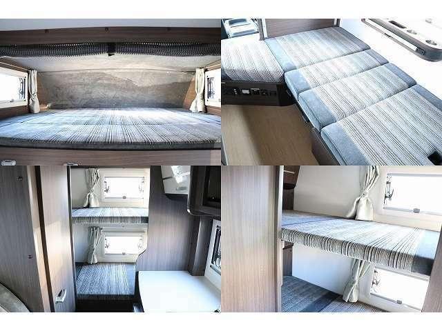 バンクベッド190cm×180cm ダイネット展開時180cm×90cm 常設2段ベッド190cm×80cm 6名の就寝が可能です♪