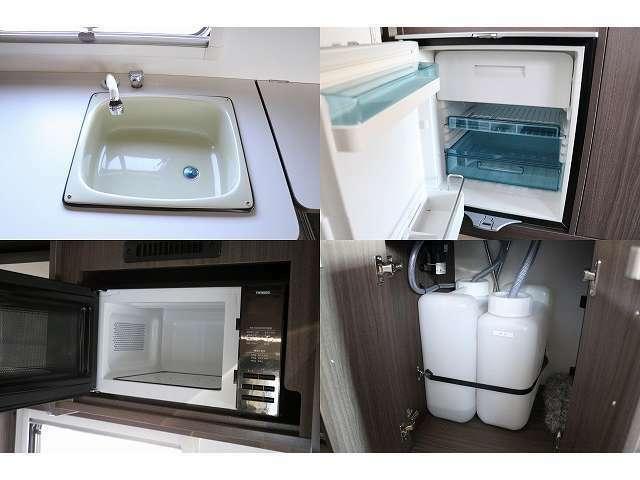給排水シンク(20Lタンク) 冷蔵庫(60L) 電子レンジ