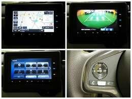 ギャザズインターナビ(VXM-184Ci)を装備。ステアリングにはオーディオコントロールリモコン、車庫入れ安心なリヤカメラも装備されていますよ。
