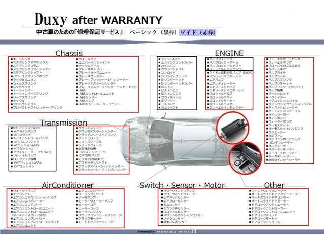 安心の『Duxy保証』☆全国の提携工場で修理可能☆無料ロードサービス付帯☆24時間×365日対応いたします☆