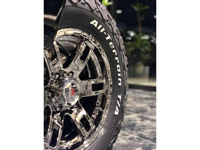 当社オリジナル17インチAW「カノン」のミラークリア!BFGのATタイヤ265/70/17を装着済みです!