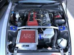 ARCスーパーインダクションボックス&ARCスーパーインテークチャンバー&スパークプラグカバー!TRUSTストラットタワーバー!