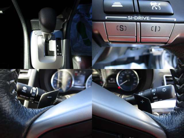 SI-DRIVE付CVTオートマチックで、色々な走行状況に対応します。 マニュアルモードで、ステアリングパドルシフトで変速操作が可能です。