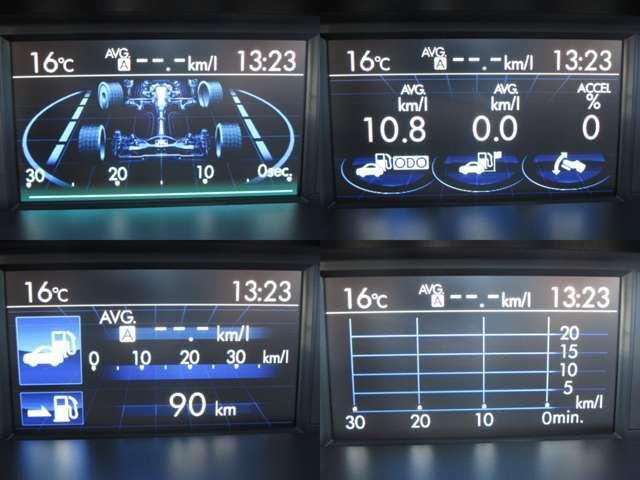 マルチファンクションディスプレイに燃費等色々な情報を表示します。