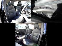 シートは豪華なブラックレザーシート♪革の痛みも少なく程度良好 運転席はメモリー機能付き電動パワーシートとなっております!