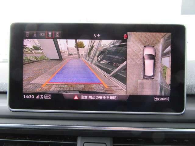 サラウンドビューカメラ搭載。4台の高精度カメラ映像により上から見下ろしたような映像を画面に映し出します。