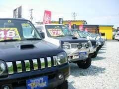 ジムニー大量展示、リフトアップやローダウン車、キャンピング仕様車まで展示!!