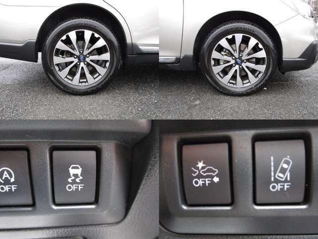 純正18インチAWで、VDC(横滑り防止装置)&アイサイトVer3で歩行者認識プリクラッシュブレーキ・アクティブレーンキープ・車線逸脱&ふらつき&先行車発進お知らせ機能で、ドライバーをサポートします。