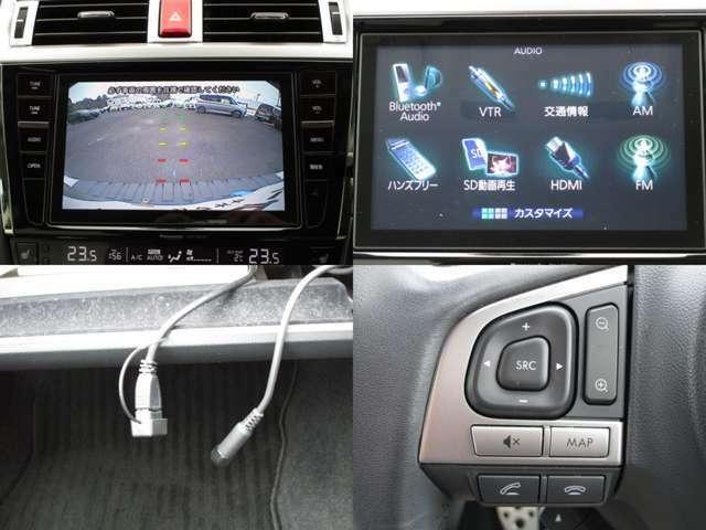 地デジ&バックガイドカメラ付純正SDナビ&CD&MP3&DVD&SD動画でAUX&USB&BTオーディオで色々なポータブル機器に対応しハンズフリーフォンの使用も可能で、ステアリングオーディオスイッチ付