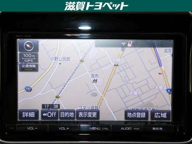トヨタ純正大型ナビゲ-ション装着車です。地上デジタル放送・CD・DVD再生など多機能に再生できるナビゲ-ションです。