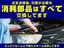 お客さまの「安全」と「安心」のために、法定点検後、交換が必要な消耗部品はすべて交換しております。エンジンルーム、下廻りはスチーム洗浄しております。