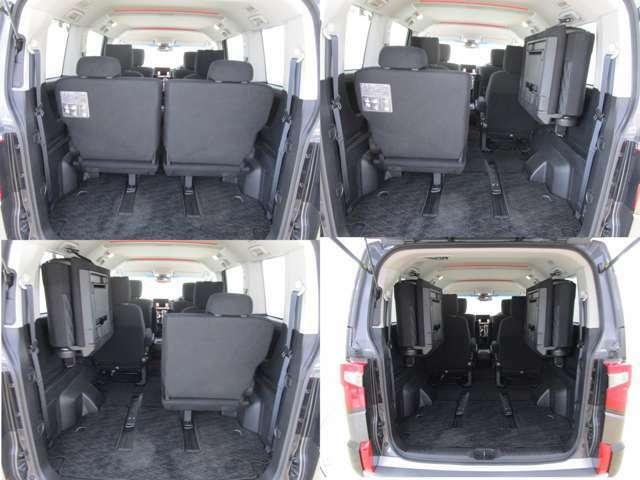 サードシートは跳ね上げ式です。荷物の多いキャンプやゴルフにおススメのお車です。