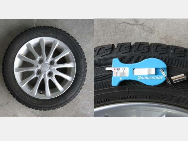 冬タイヤにはアルミホィールが装着されて、残量は約7mmです。