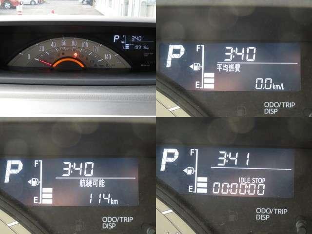大きく見やすいセンターメーター。液晶部には燃費計の表示も可能です。