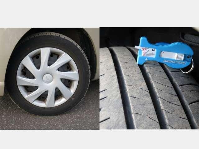 夏タイヤにはスチールホィールが装着されて、残量は約4mmです。
