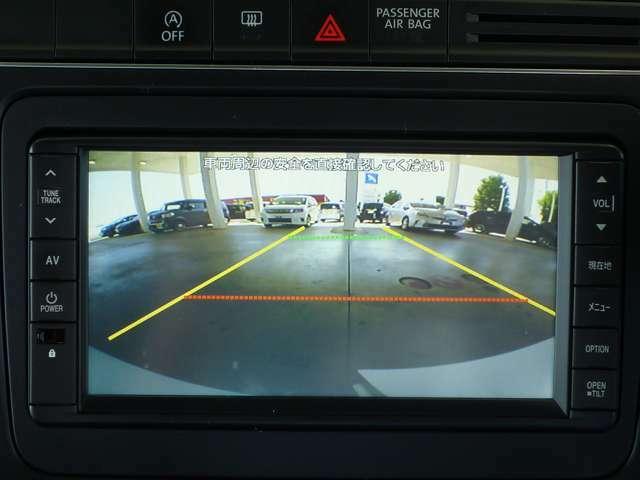 ガイドライン付のリアカメラで慣れない場所での車庫入れも安心です。